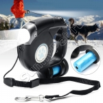 Поводок-рулетка для собак до 35 кг тросовый (4,5 метра, фонарик, контейнер)