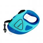 Поводок-рулетка Премиум для собак до 50 кг QQPETS (3/5 метров, фонарик, обрезиненный корпус)
